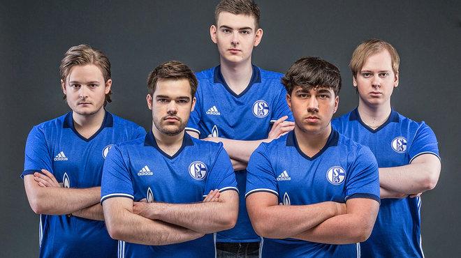 """Das Profi-Team """"Elements"""" mit den E-Sportlern: Sprattel, Steve, MrRalleZ, Gilius und Fox (v.l.). © FC Schalke 04"""