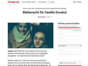 Screenshot: change.org