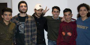 Ibrahim, Safi, Mohammed, Mouayad, Hasan und Ayse im Dortmunder Literaturhaus. Foto: Kortfunke